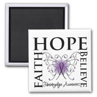 Hope Believe Faith - Fibromyalgia 2 Inch Square Magnet