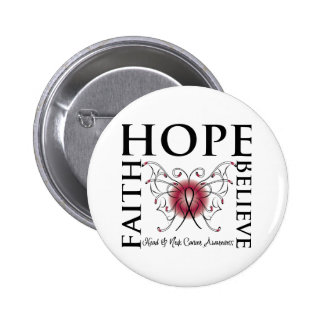 Hope Believe Faith - Head and Neck Cancer Buttons