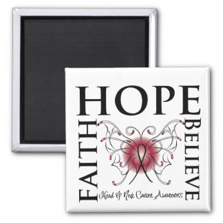 Hope Believe Faith - Head and Neck Cancer Refrigerator Magnet