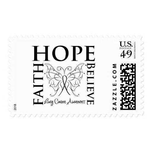 Hope Believe Faith - Lung Cancer Postage Stamp