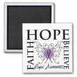 Hope Believe Faith - Lupus 2 Inch Square Magnet