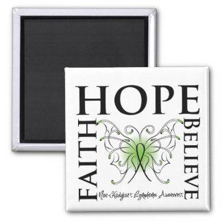 Hope Believe Faith - Non-Hodgkin's Lymphoma 2 Inch Square Magnet