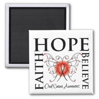 Hope Believe Faith - Oral Cancer 2 Inch Square Magnet