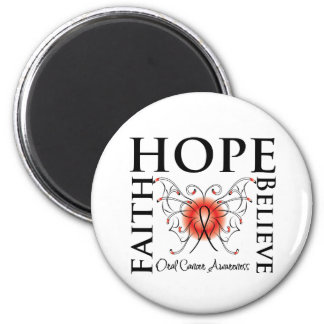 Hope Believe Faith - Oral Cancer 2 Inch Round Magnet