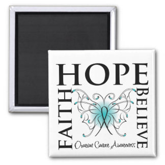 Hope Believe Faith - Ovarian Cancer Refrigerator Magnet
