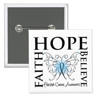 Hope Believe Faith - Prostate Cancer 2 Inch Square Button