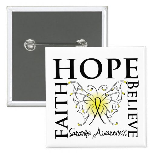 Hope Believe Faith - Sarcoma Cancer 2 Inch Square Button
