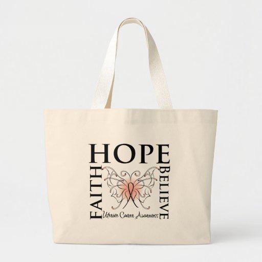 Hope Believe Faith - Uterine Cancer Tote Bag