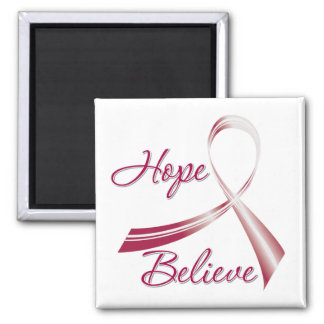 Hope Believe Head and Neck Cancer 2 Inch Square Magnet