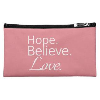 """'Hope. Believe. Love.""""  Med. Cosmetic Bag"""