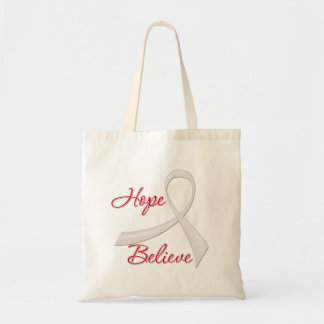 Hope Believe Lung Cancer Budget Tote Bag
