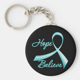 Hope Believe Ovarian Cancer Keychains