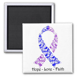 Hope Blue and Purple Awareness Ribbon 2 Inch Square Magnet