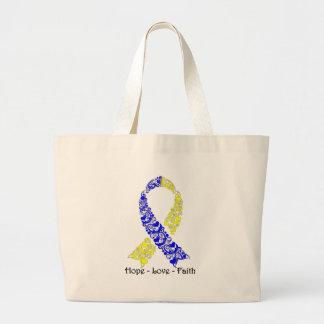 Hope Blue and Yellow Awareness Ribbon Large Tote Bag
