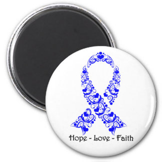 Hope Blue Awareness Ribbon 2 Inch Round Magnet