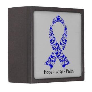 Hope Blue Awareness Ribbon Premium Jewelry Boxes