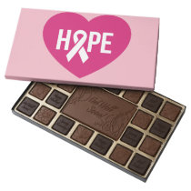 Hope Breast Cancer awareness pink ribbon on heart Assorted Chocolates
