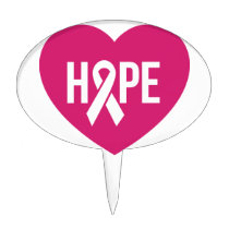 Hope Breast Cancer awareness pink ribbon on heart Cake Topper