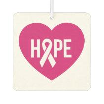 Hope Breast Cancer awareness pink ribbon on heart Car Air Freshener