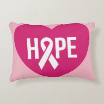 Hope Breast Cancer awareness pink ribbon on heart Decorative Pillow