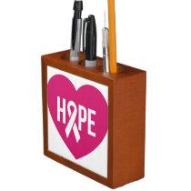 Hope Breast Cancer awareness pink ribbon on heart Desk Organizer