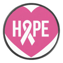 Hope Breast Cancer awareness pink ribbon on heart Hockey Puck