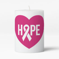 Hope Breast Cancer awareness pink ribbon on heart Pillar Candle