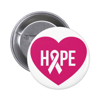 Hope Breast Cancer awareness pink ribbon on heart Pinback Button