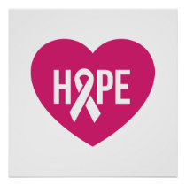 Hope Breast Cancer awareness pink ribbon on heart Poster