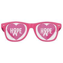 Hope Breast Cancer awareness pink ribbon on heart Retro Sunglasses