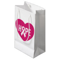 Hope Breast Cancer awareness pink ribbon on heart Small Gift Bag