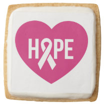Hope Breast Cancer awareness pink ribbon on heart Square Shortbread Cookie