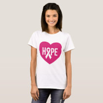 Hope Breast Cancer awareness pink ribbon on heart T-Shirt