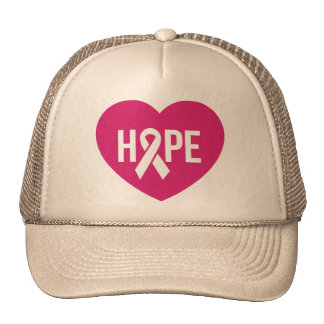 Hope Breast Cancer awareness pink ribbon on heart Trucker Hat