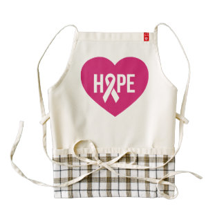 Hope Breast Cancer awareness pink ribbon on heart Zazzle HEART Apron