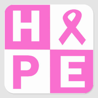 Hope Breast Cancer Awareness Square Sticker