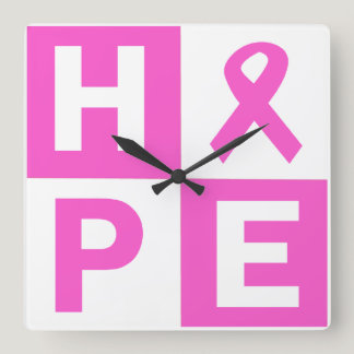 Hope Breast Cancer Awareness Square Wall Clock