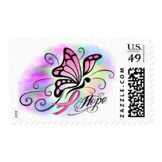 hope, breast cancer pink ribbon butterfly stamps