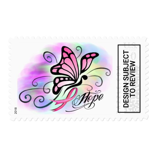 4d459fe47 hope, breast cancer pink ribbon butterfly stamps | Zazzle.com