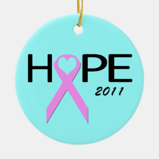 Hope Breast Cancer Ribbon Ornament
