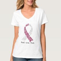 Hope Burgundy and White Awareness Ribbon T-Shirt