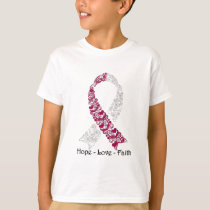 Hope Burgundy and White Awareness Ribbon T-Shirt