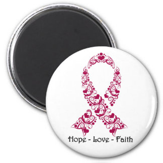 Hope Burgundy Awareness Ribbon 2 Inch Round Magnet