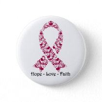 Hope Burgundy Awareness Ribbon Pinback Button