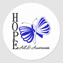 Hope Butterfly ALS Disease Classic Round Sticker