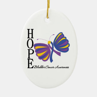 Hope Butterfly Bladder Cancer Awareness Christmas Tree Ornaments
