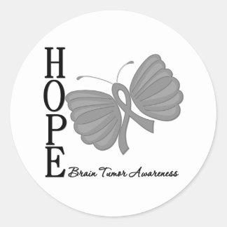 Hope Butterfly Brain Tumor Classic Round Sticker
