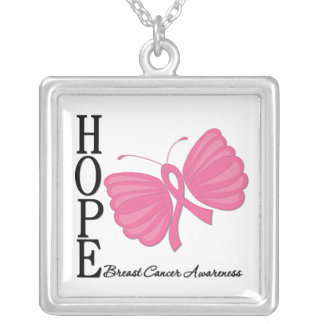 Hope Butterfly Breast Cancer Necklaces