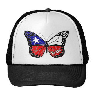 Hope Butterfly Chile Flag Hats