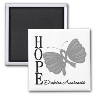 Hope Butterfly Diabetes 2 Inch Square Magnet